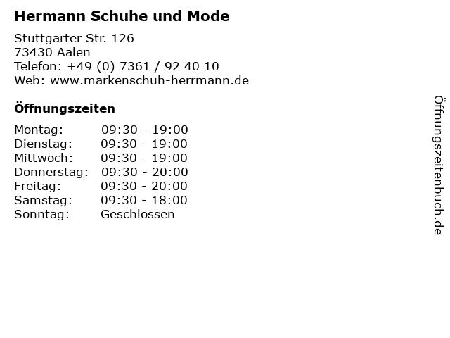 Hermann Schuhe und Mode in Aalen: Adresse und Öffnungszeiten