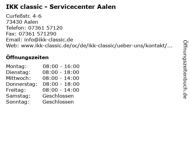 IKK classic - Servicecenter Aalen in Aalen: Adresse und Öffnungszeiten