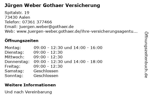 Jürgen Weber Gothaer Versicherung in Aalen: Adresse und Öffnungszeiten