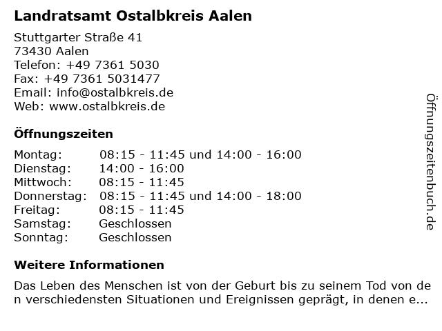 Landratsamt Ostalbkreis Aalen in Aalen: Adresse und Öffnungszeiten