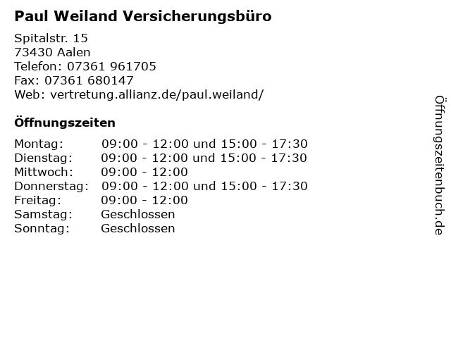 Paul Weiland Versicherungsbüro in Aalen: Adresse und Öffnungszeiten