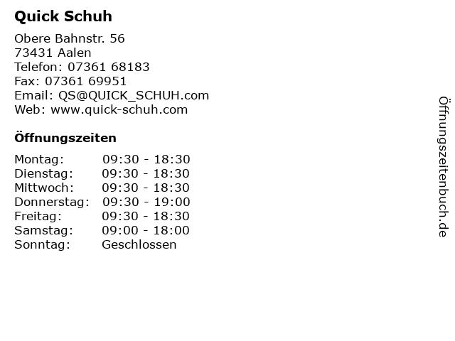 Quick Schuh in Aalen: Adresse und Öffnungszeiten
