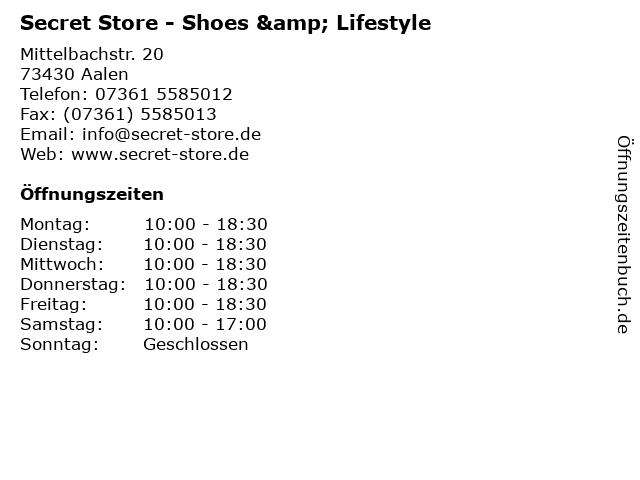Secret Store - Shoes & Lifestyle in Aalen: Adresse und Öffnungszeiten