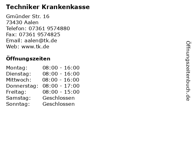 Techniker Krankenkasse in Aalen: Adresse und Öffnungszeiten