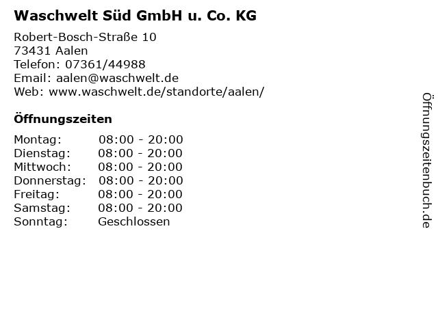 Waschwelt Süd GmbH u. Co. KG in Aalen: Adresse und Öffnungszeiten