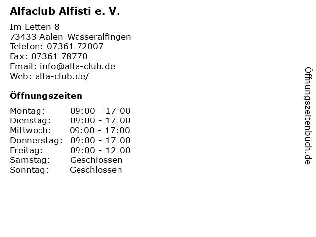 Alfaclub Alfisti e. V. in Aalen-Wasseralfingen: Adresse und Öffnungszeiten