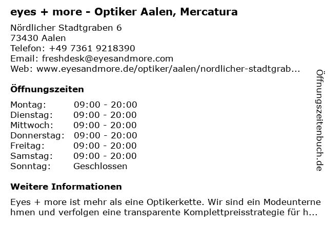 eyes + more Optikgeschäft in Aalen: Adresse und Öffnungszeiten