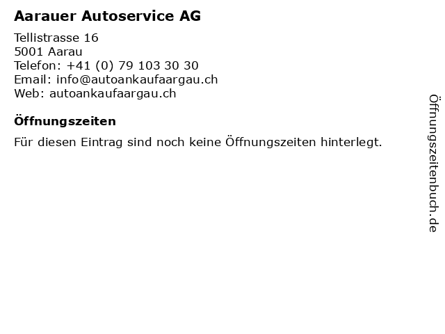 Aarauer Autoservice AG in Aarau: Adresse und Öffnungszeiten