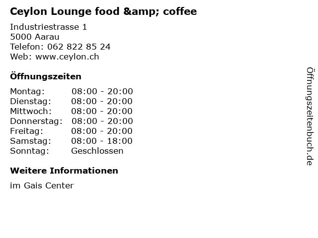 Ceylon Lounge food & coffee in Aarau: Adresse und Öffnungszeiten