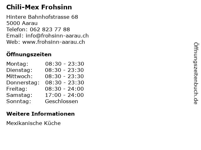 Chili-Mex Frohsinn in Aarau: Adresse und Öffnungszeiten
