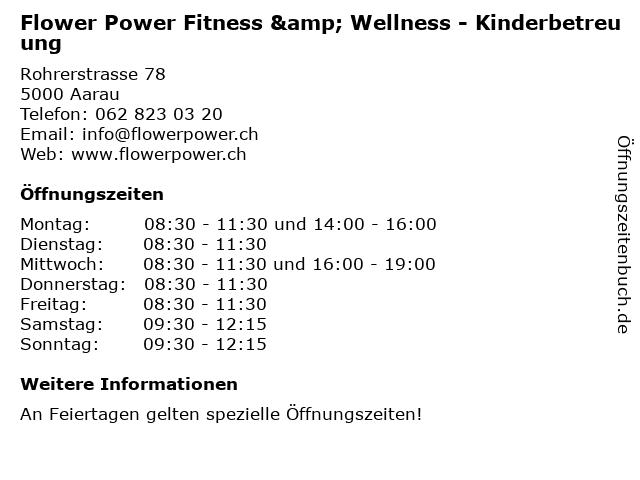 Flower Power Fitness & Wellness - Kinderbetreuung in Aarau: Adresse und Öffnungszeiten