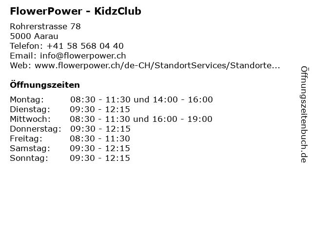 FlowerPower - KidzClub in Aarau: Adresse und Öffnungszeiten
