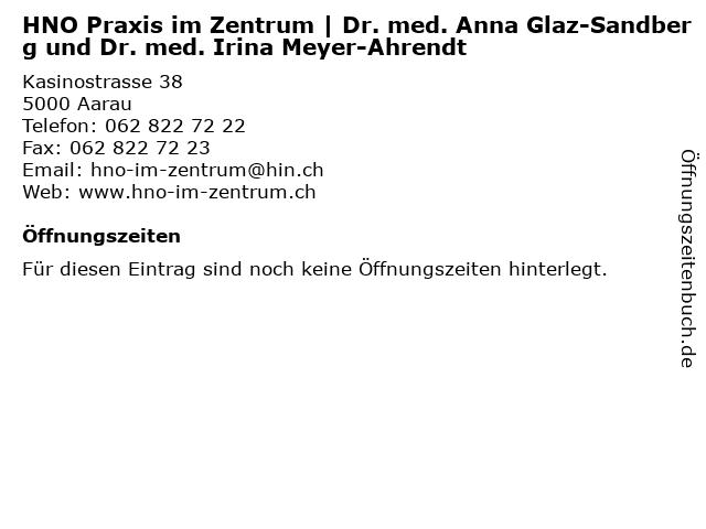 HNO Praxis im Zentrum   Dr. med. Anna Glaz-Sandberg und Dr. med. Irina Meyer-Ahrendt in Aarau: Adresse und Öffnungszeiten
