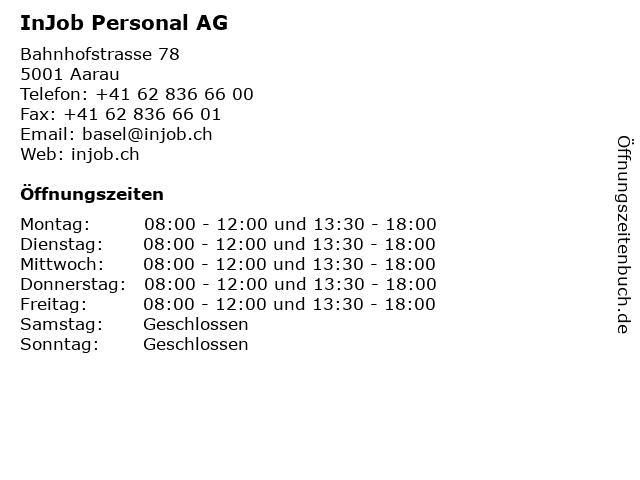 InJob Personal AG in Aarau: Adresse und Öffnungszeiten