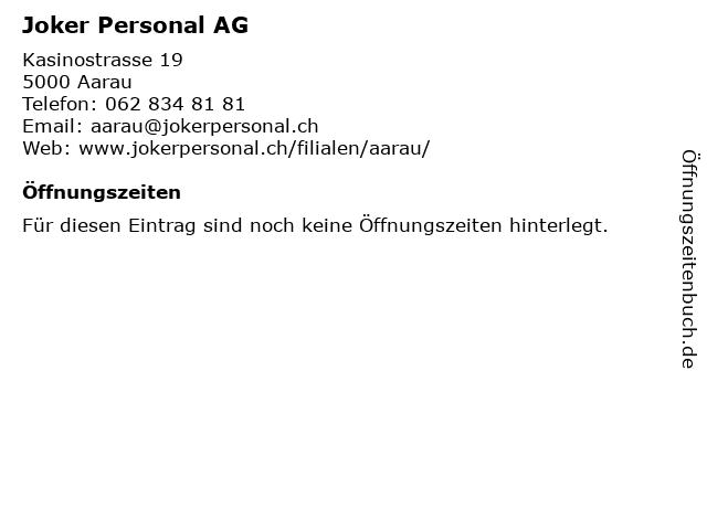 Joker Personal AG in Aarau: Adresse und Öffnungszeiten