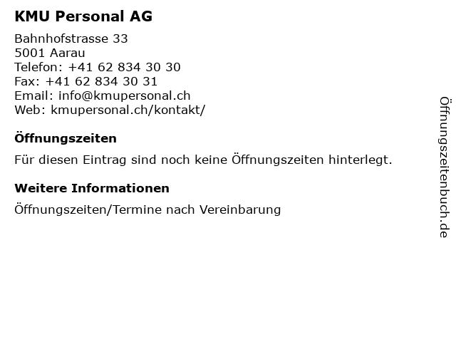 KMU Personal AG in Aarau: Adresse und Öffnungszeiten