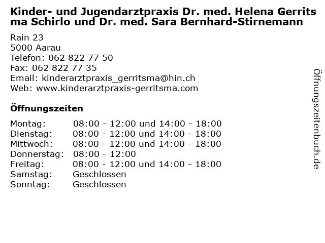 Kinder- und Jugendarztpraxis Dr. med. Helena Gerritsma Schirlo und Dr. med. Sara Bernhard-Stirnemann in Aarau: Adresse und Öffnungszeiten