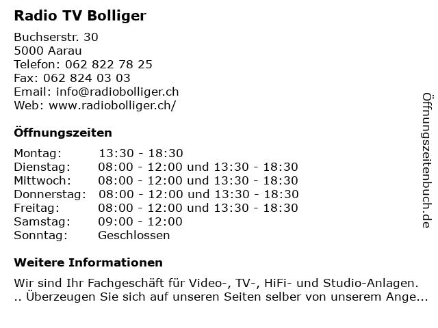 Radio TV Bolliger in Aarau: Adresse und Öffnungszeiten