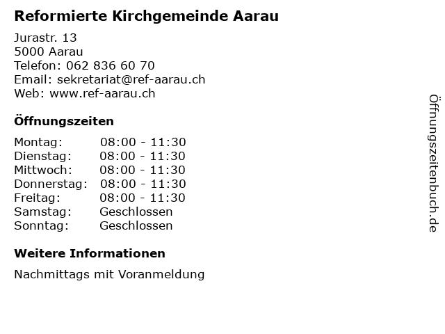 Reformierte Kirchgemeinde Aarau in Aarau: Adresse und Öffnungszeiten