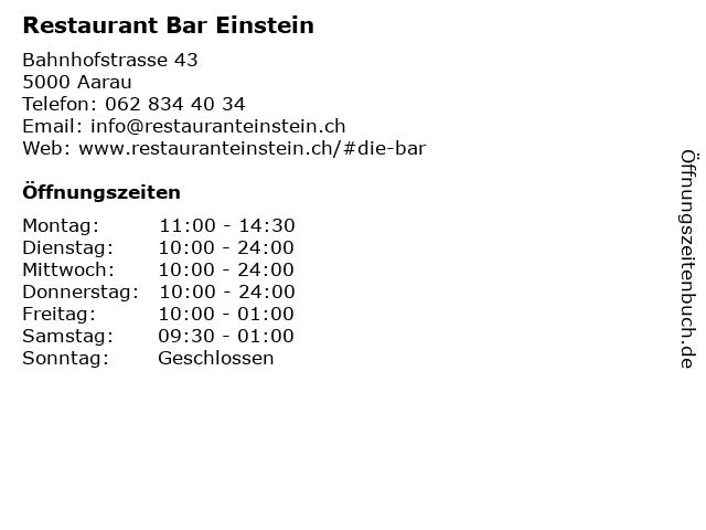 Restaurant Bar Einstein in Aarau: Adresse und Öffnungszeiten