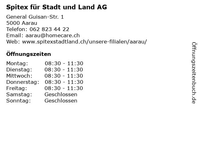 Spitex für Stadt und Land AG in Aarau: Adresse und Öffnungszeiten