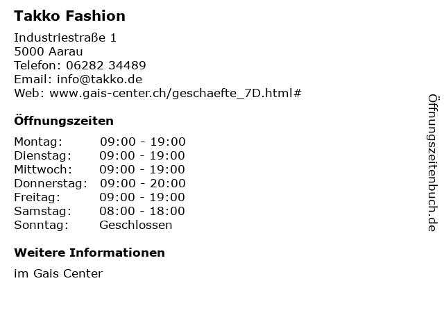 Takko Fashion in Aarau: Adresse und Öffnungszeiten