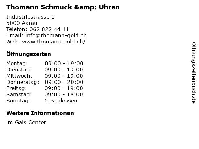 Thomann Schmuck & Uhren in Aarau: Adresse und Öffnungszeiten