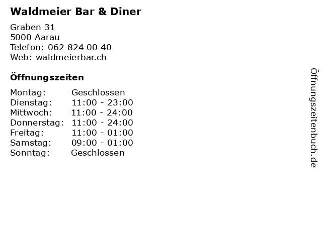Waldmeier Bar & Diner in Aarau: Adresse und Öffnungszeiten