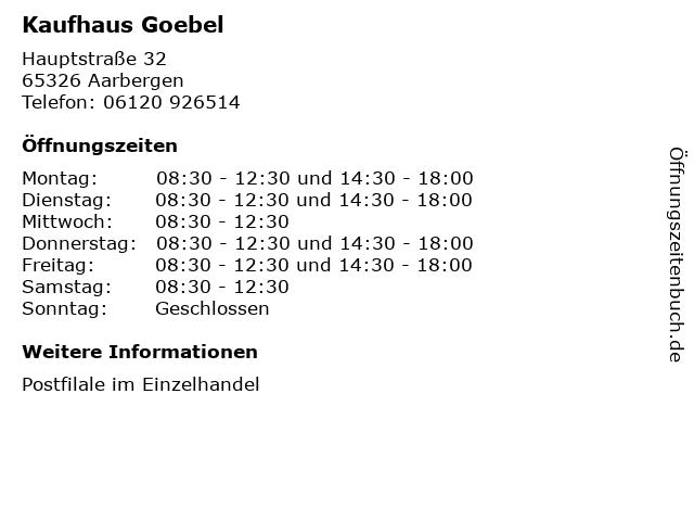 Kaufhaus Goebel in Aarbergen: Adresse und Öffnungszeiten