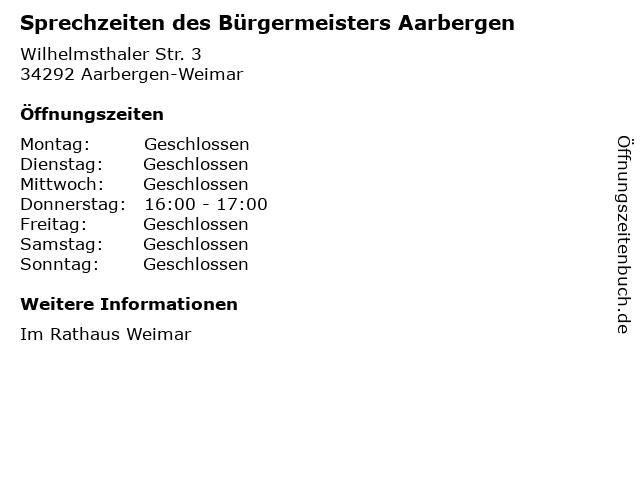 Sprechzeiten des Bürgermeisters Aarbergen in Aarbergen-Weimar: Adresse und Öffnungszeiten