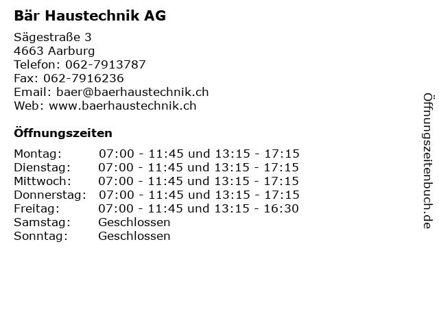 Bär Haustechnik AG in Aarburg: Adresse und Öffnungszeiten
