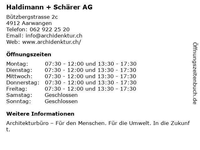 Haldimann + Schärer AG in Aarwangen: Adresse und Öffnungszeiten