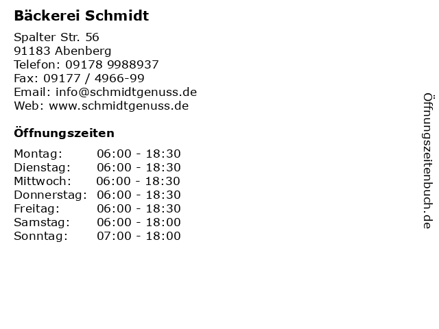 Bäckerei Schmidt in Abenberg: Adresse und Öffnungszeiten