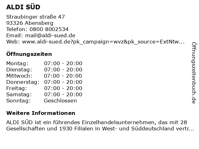 ALDI SÜD in Abensberg: Adresse und Öffnungszeiten