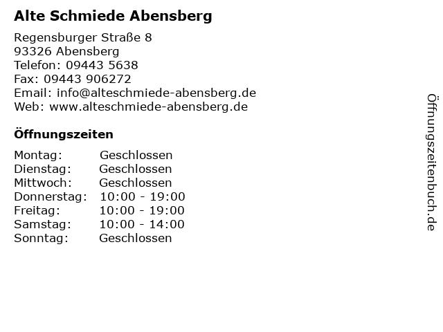 Alte Schmiede Abensberg in Abensberg: Adresse und Öffnungszeiten