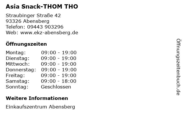 Asia Snack-THOM THO in Abensberg: Adresse und Öffnungszeiten