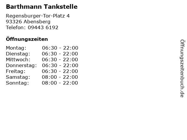 Barthmann Tankstelle in Abensberg: Adresse und Öffnungszeiten