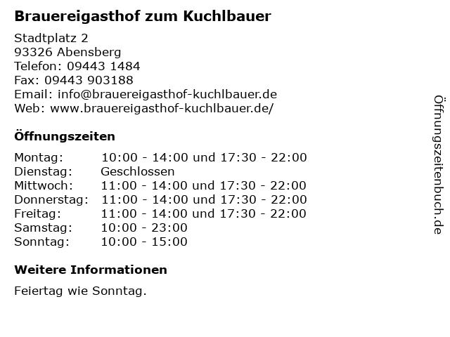 Brauereigasthof zum Kuchlbauer in Abensberg: Adresse und Öffnungszeiten
