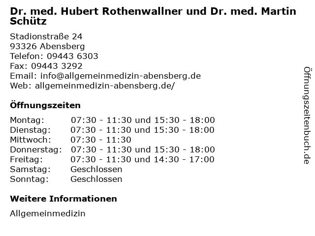 Dr. med. Hubert Rothenwallner und Dr. med. Martin Schütz in Abensberg: Adresse und Öffnungszeiten