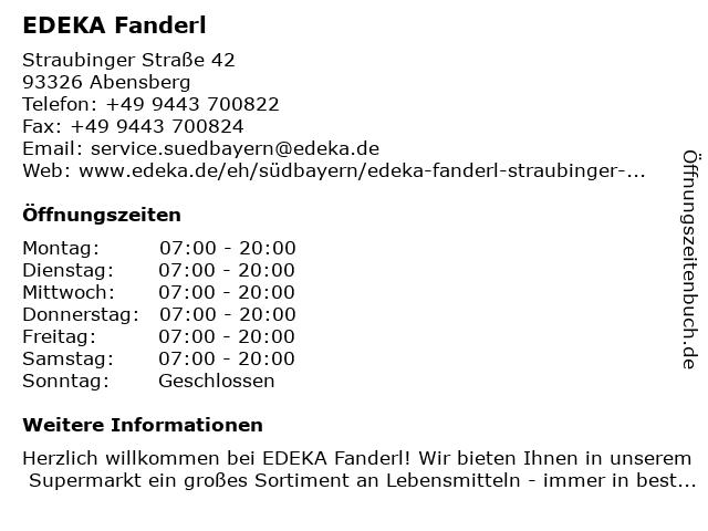 EDEKA Fanderl in Abensberg: Adresse und Öffnungszeiten