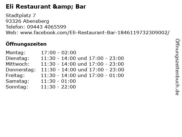 Eli Restaurant & Bar in Abensberg: Adresse und Öffnungszeiten