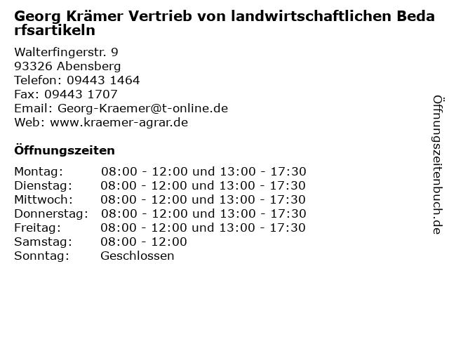 Georg Krämer Vertrieb von landwirtschaftlichen Bedarfsartikeln in Abensberg: Adresse und Öffnungszeiten