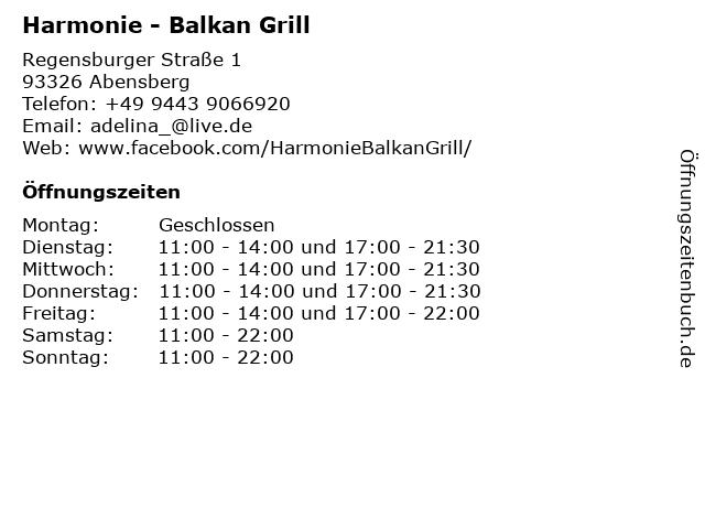 Harmonie - Balkan Grill in Abensberg: Adresse und Öffnungszeiten