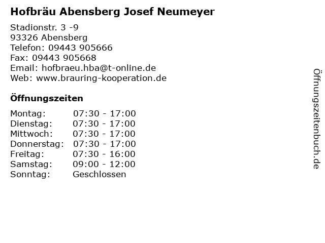Hofbräu Abensberg Josef Neumeyer in Abensberg: Adresse und Öffnungszeiten