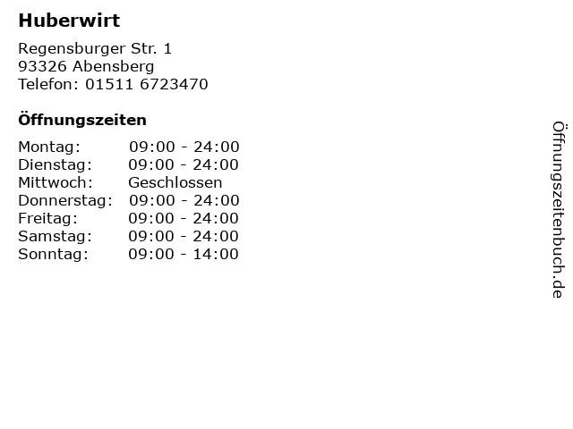 Huberwirt in Abensberg: Adresse und Öffnungszeiten