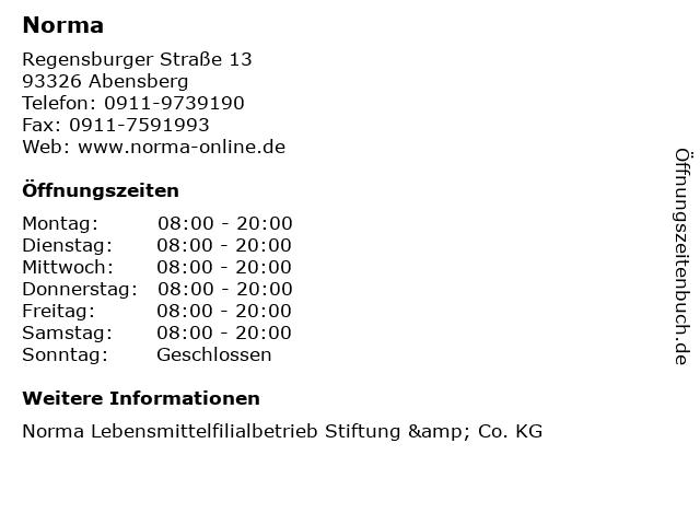 Norma in Abensberg: Adresse und Öffnungszeiten