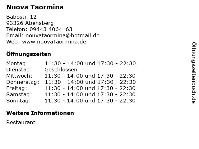 Nuova Taormina in Abensberg: Adresse und Öffnungszeiten