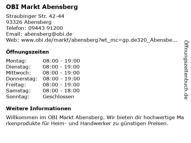 OBI Markt Abensberg in Abensberg: Adresse und Öffnungszeiten