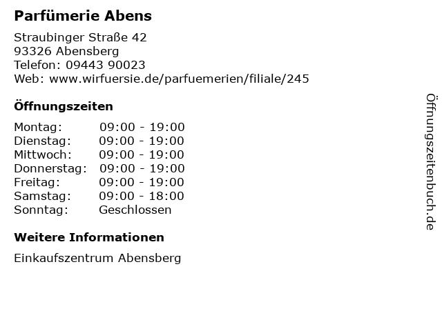Parfümerie Abens in Abensberg: Adresse und Öffnungszeiten