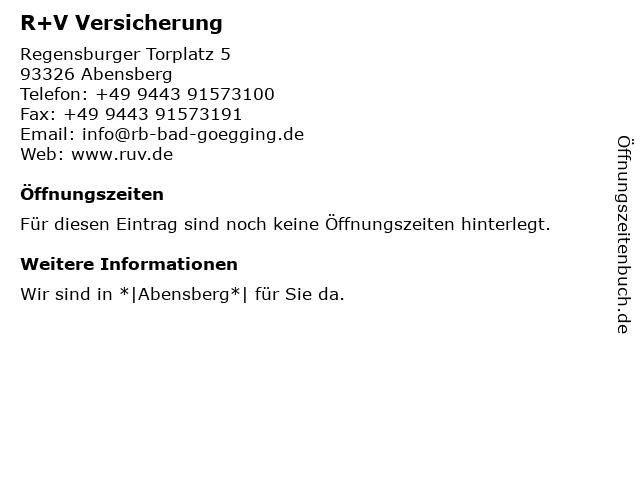 R+V Versicherung in Abensberg: Adresse und Öffnungszeiten